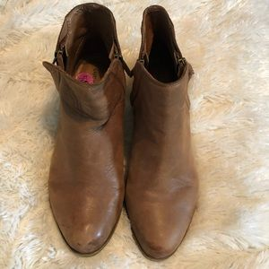 Lucky Brand LP Brenon Leather Brown Ankle Booties